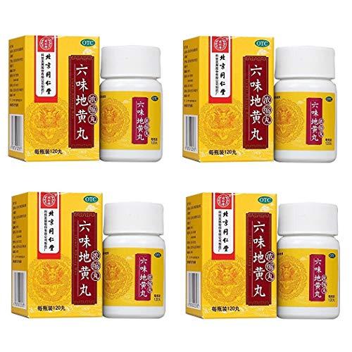 4 盒,120 片装,钳子Ren Tang - Liu Wei Di Huang Wan ( 混合口味 Rehmanni 药物 ) 超高浓度 - 带美国英语标签