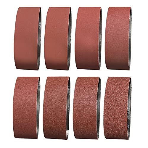 Sruhrak Schleifband 75X533mm- 16 Stück Bandschleifer Schleifbänder, je 2 Stück Körnungen 40/60/80/120/180/240/320/400 Schleifband-Set, zum Schleifen, Feilen, Schärfen und Entrosten