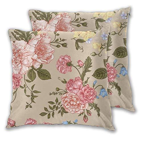 Juego de 2 fundas de cojín, diseño floral sin costuras, con ramo de flores coloridas sobre fondo beige, peonías, rosas, cuadradas, fundas de almohada para sofá, silla, dormitorio, fundas de almohada decorativas