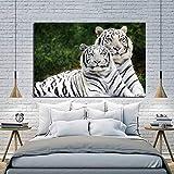 YuanMinglu Dos Tigres Blancos Animales Salvajes Papel Tapiz póster Lienzo impresión Arte de la Pared decoración Dormitorio Moderno decoración del hogar Pintura sin Marco 24x36 cm