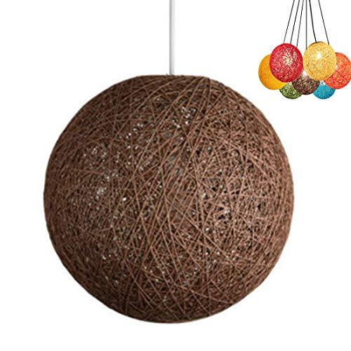 ✨Modern celosía mimbre Rattan globo bola estilo techo colgante luz pantalla creativa personalidad bar, cafetería, habitaciones, restaurante simple decoración iluminación (marrón, 30cm)