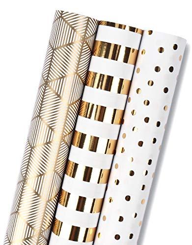 RUSPEPA Rouleau De Papier D'Emballage Cadeau - Mini rouleau - Ensemble De 3 Différents Or Et Blanc (14,4 Pieds Carrés) - 44 cm X 305 cm Par Rouleau