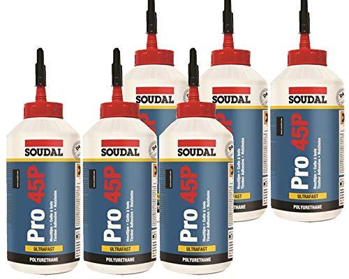 6x Soudal Holzleim Pro 45P PU-Leim wasserfest Polyurethanleim Leim D4 750ml