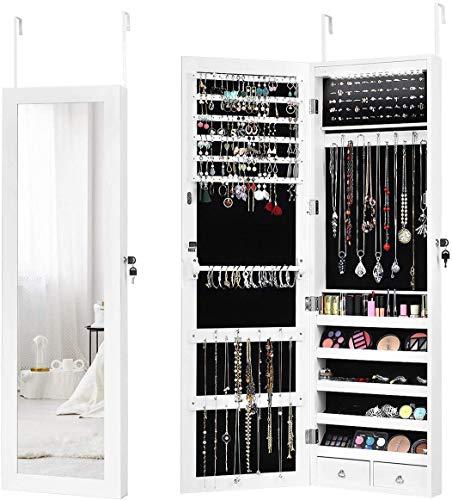 RELAX4LIFE Schmuckschrank mit 15 LEDs, Schmuckregal mit automatischem LED-Streifen, Aufbewahrung für Ohringe & Halskette & Kosmektik & Armbänder, Tür- und Wandmontage, mit Spiegel, abschließbar, weiß