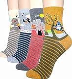 Damen-Socken – niedliches Tier-Design, Baumwolle, lustig, lässig, mit Katzenmotiv, Weihnachtsgeschenk Gr. One size, Animation - Miyazaki 4 Stück
