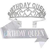 Crowns for Women,CIEHER Birthday Queen Sash & Rhinestone Tiara Kit,Tiaras and Crowns for Women,Silver Queen Crown,Princess Elegant Crown with Combs,Sweet Birthday Party Decorations,Birthday Gift