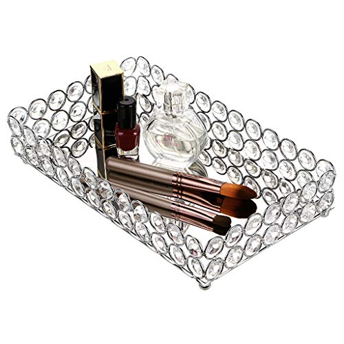 Hipiwe Crystal Cosmetic Makeup Tray, Mirrored Vanity Jewelry Decorative Tray Organizer for -