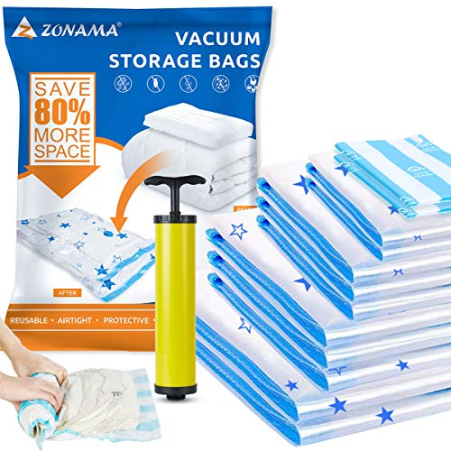 Vacuum Storage Bags 12 Pack, 2 Jumbo, 3 Large, 3 Medium, 2 Small,2 Roll Up Bags, Reusable Space Saver Compression Bag with Travel Hand Pump for Clothes, Blankets, Duvets, Pillows, Comforters, Quilts