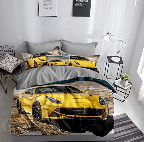 Ropa de cama 3D con diseño de coche deportivo amarillo, funda nórdica de 135 x 200 + 80 x 80 cm, doble cara, color amarillo y gris con cierre