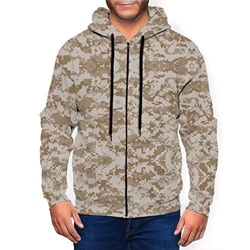 MISSBIE Desert Digital Camouflage Men's 3D Print Athletic Fit Full Zip Sweatshirt Active Hoodie Jacket
