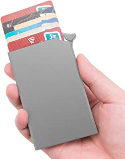 Panavage クレジットカードケース スキミング防止 磁気防止 スライド式 スリム 男女兼用 6枚収納 (グレー)