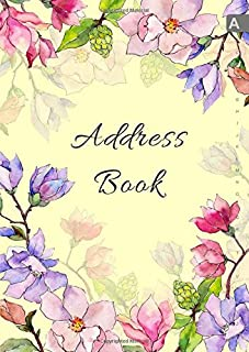 Address Book: A4 Big Contact Notebook Organizer | A-Z Alphabetical Sections | Large Print | Magnolia Wildflower Watercolor Design Yellow