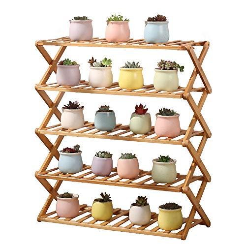 uyoyous – Soporte para flores de bambú, 5 niveles, plegable, para plantas, zapatero, organizador, para interior, balcón, salón, exterior, jardín, decoración