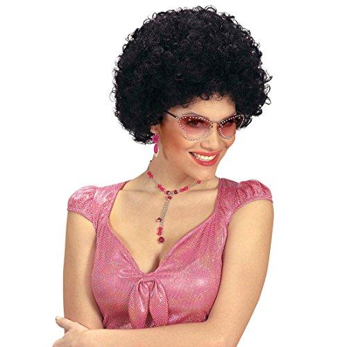 Amakando Tête bouclée Disco Perruque années 70 Afro Dance Cheveux Noir Seventies soirée à thème fête d'été déguisement Carnaval