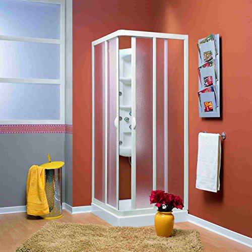 Duschakbine Eckeinstieg Acrylglas in weiß Größe 75x75 cm kürzbar um 5 cm