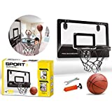 Basketball Hoop and Backboard Set, Folding Backboard Metal Rim, Hanging Basketball Board with Ball and Pump - Suitable for Hanging over Home, Office or Bedroom Doors