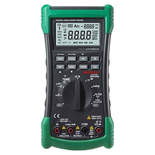 Mastech MS5208 6600 Counts Digital Multimeter Insulation Resistance Meter True RMS AC Voltage Current Temperature Tester