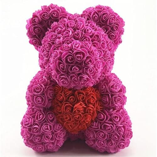 40Cm Foam Rose Bear With Box Rose Artificial Flower Gift For Girlfriends Mother And Mother'S Day Wife Valentine'S Day Gift Home Decor,Pink Bear Red Heart