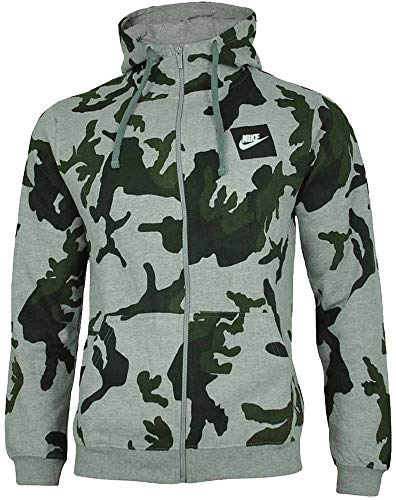 Nike Mens Camo Hoody Fleece Hooded Top AOP Club Zip Top Grey New AH7019 (Large)