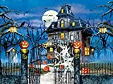 5D DIY Diamond Painting Haunted House 16X20 inches Full Round Drill Rhinestone Embroidery for Wall Decoration