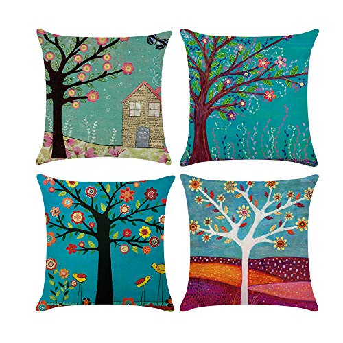COWORK Set of 4 Tree of Life Cushion Cover Cotton Linen Throw Pillow Case Decorative Square Sofa Pillowcase for Home Decor Favor, 18 x 18 inch / 45 x 45 cm with Invisible Zipper (Style 15)