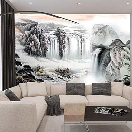Behang, behang op maat, behang in nieuwe Chinese stijl, bank, tv, achtergronden, muurschilderij, grote woonkamer-wandbedekking fotobehang 3D-effect behang behang bos vintage 250 x 170 cm.