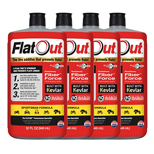 FlatOut 99908 Tire Sealant (Sportsman Formula), Great for ATVs, UTVs/Side-by-Sides, Golf Carts, Dirt Bikes, Off-Road-Only Jeeps and More, 32-Ounce, 4-Pack