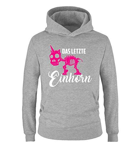 Comedy Shirts Comedy Shirts - Das letzte Einhorn - Skelette - Mädchen Hoodie - Grau/Weiss-Pink Gr. 152
