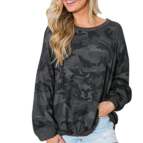 Best Buy! TWGONE Fall Shirts for Women Long Sleeve Plus Size Camo Sweatshirt Crewneck Baggy Tops Ladies Blouse(Large,Black)