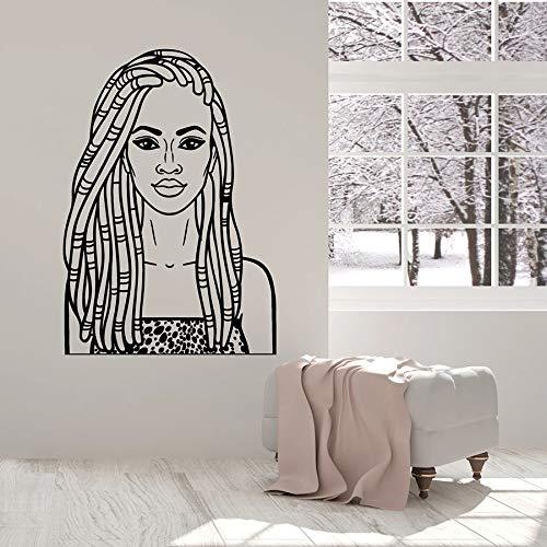 HGFDHG Hermosa Chica Tatuajes de Pared Belleza Chicas Negras Damas Negras peluquería Interior Vinilo Ventana Pegatinas Arte Mural Moderno