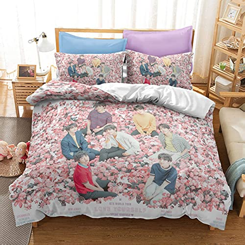 BTS - Juego de funda de edredón para cama individual, cama individual, cama individual para niñas y adolescentes, funda de cama BTS con funda de almohada