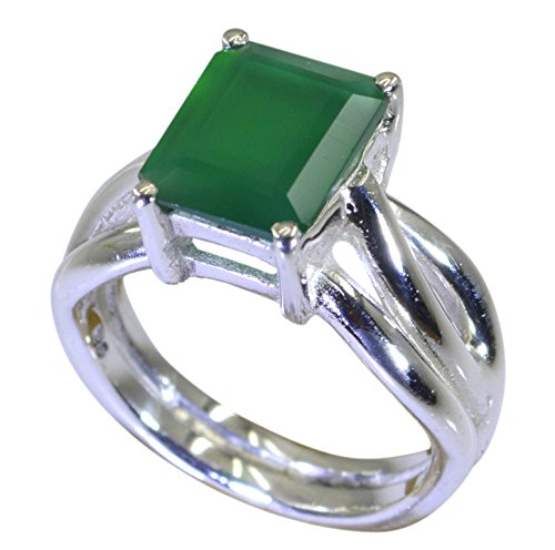 Natural Green Onyx Ring Emerald Cut Oval Gemstone Sterling Silver Handmade Size H,I,J,K,L,M,N,O,P,Q,R,S,T