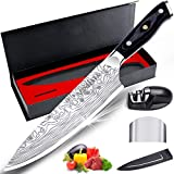 "MOSFiATA 8"" Super Sharp Professional Chef's Knife with Finger Guard and Knife Sharpener, German High Carbon Stainless Steel 4116 with Micarta Handle and Gift Box"
