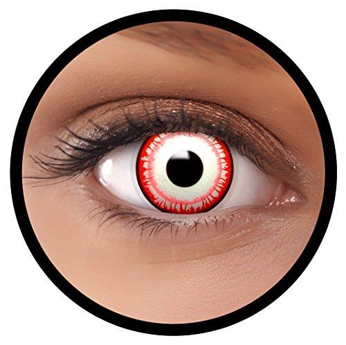 Farbige Kontaktlinsen weiß rot Killer Clown + Behälter, weich, ohne Stärke in als 2er Pack (1 Paar)- angenehm zu tragen und perfekt für Halloween, Karneval, Fasching oder Fastnacht Kostüm