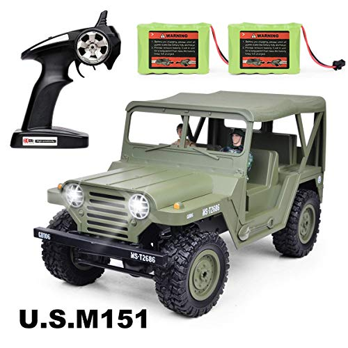 Military Jeep RC Car, 2.4G Army Radio Remote Control Buggy 1: 14 Scale,RC Trucks, Electric RC Cars,2 Rechargeable NI-MH Battery,2 Military Doll Off Road Crawlers Toy Car for Adults & Kids,Green