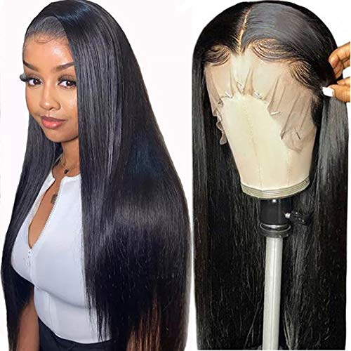 ITODAY Straight Lace Front Human Hair Wigs (24Inch) Brazilian 13×4×0.5 Straight Hair Wig with Baby Hair for Black Women T Middle Part Lace Frontal Wigs Human Hair 150% Density (24, T Part Straight)