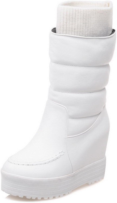 AdeeSu Womens Fashion Round-Toe Round-Toe Comfort Wedges Urethane Boots SXC01716