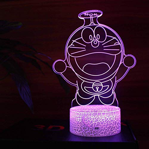 Lampe de nuit 3D Do La A Dream Robot Cat USB Stereo Vision LED Lampe de bureau Acrylique Vision Fantasy Eye Care Night Light Touch Chevet Light Creative Gift (: Touch)