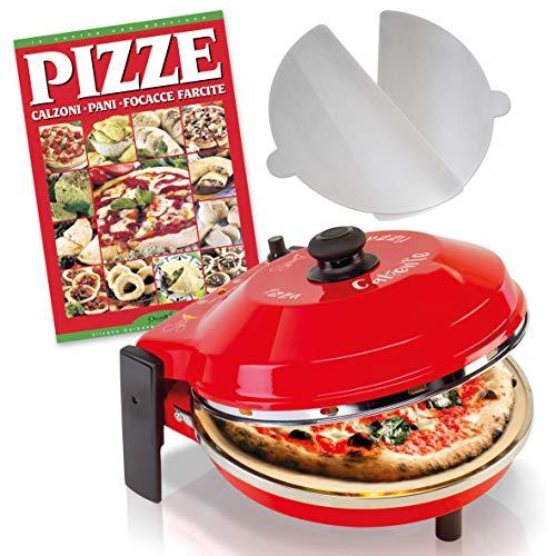 SPICE - Forno Pizza CALIENTE con pietra refrattaria 400 gradi Resistenza circolare (Forno P. 32 cm + 2 Palette alluminio + Ricettario PIZZE)