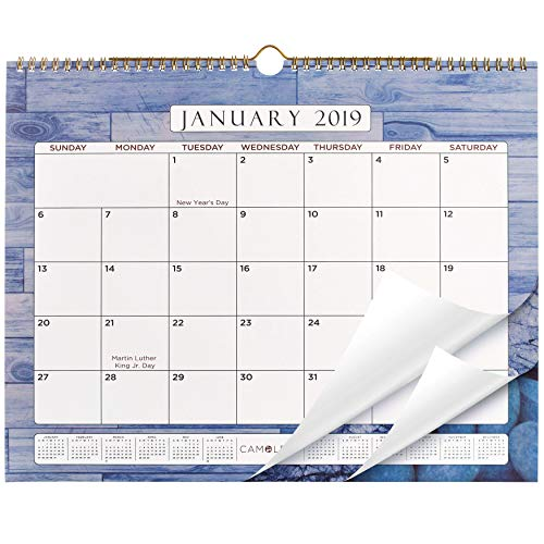 """Wall Calendar 2019 Monthly - 15x12"""" - Premium Thick 160 GSM Paper - 12 Full Color Unique Backgrounds - by CAMOLEAF"""