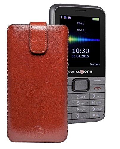Favory® Etui Tasche für / SWISSTONE SC560 / Leder Etui Handytasche Ledertasche Schutzhülle Hülle Hülle Lasche mit Rückzugfunktion* in Braun