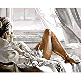 wZUN Vida Vacaciones Tiempo Libre Chica Vacaciones Junto al mar Personaje Lienzo Pintura Arte Decorativo Cartel Estado de ánimo Relajado Imagen Feliz 60x80 Sin Marco