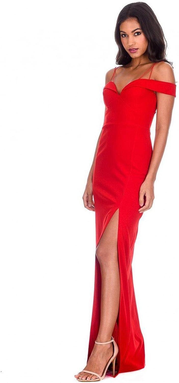 AX Paris Women's Strappy Off The Shoulder Side Split Maxi Dress