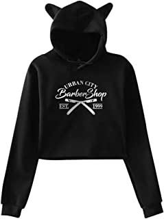 Women's Long Sleeve Crop Top Hoodies City Barbershop Cat Ear Lumbar Hoodie Pullover Sweater