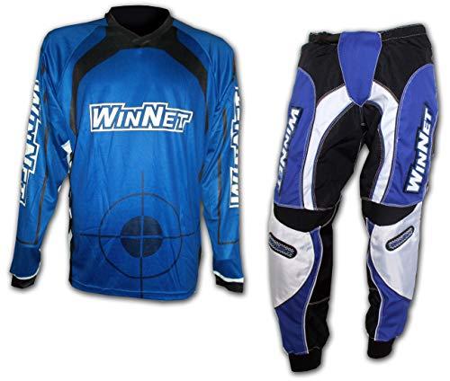 WinNet completo tuta per moto da cross enduro maglia + pantaloni BLU (XL)