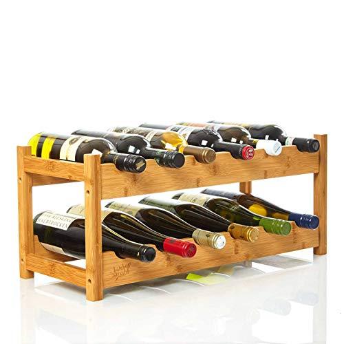 bambuswald© Weinregal für 12 Flaschen aus 100{2d5cf3beeca6004cb2b4083d017a2d37d9ad6f7089fbda69add96c79639a269b} nachhaltigem Bambus | Etagen Flaschenregal Weinschrank Weinhalter Weinablage