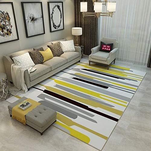 Znx Alfombra Geométrica Moderna Alfombra Interior y Exterior Alfombra Salon Dormitorio Espesar Cuadrados de Alfombras (7-8 Mm)...