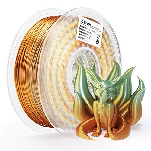 AMOLEN 3D Printer Filament,Silk Rainbow Multicolor PLA Filament 1.75mm,+/-0.03mm,3D Printing Materials for 3D Printer and 3D Pen,1KG