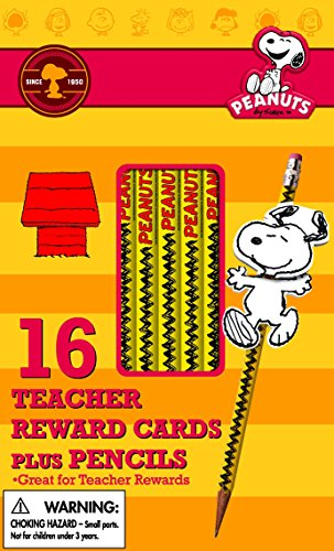 Eureka Back to School Peanuts Snoopy Pencils, Pencil Toppers and Teacher Reward Cards for Students, 32pc