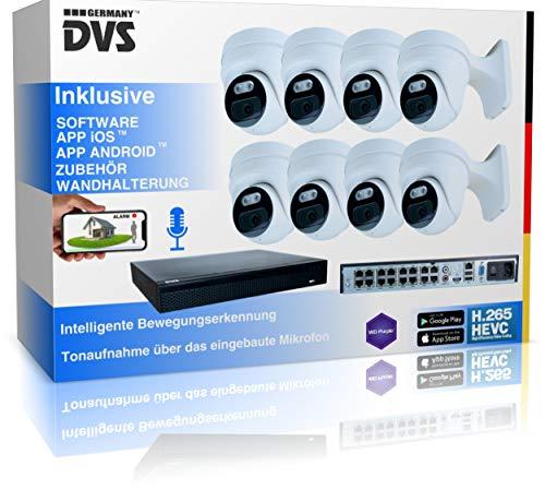 4K Überwachungskamera Set Aussen AI-Menschenerkennung, Videoüberwachung mit 8X 8MP PoE IP Kamera für 24/7 Aufnahme Outdoor - 1000GB Festplatte